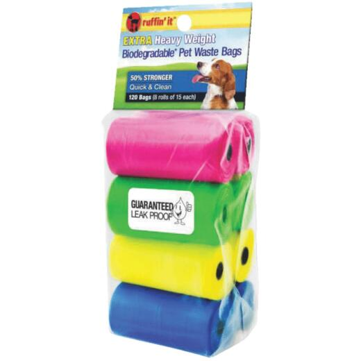 Ruffin' it 11 In. W. x 13.78 In. H. Multi-Color Pet Waste Bag (120-Pack)