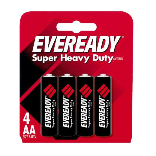 Eveready Super Heavy Duty AA Carbon Zinc Battery (4-Pack)