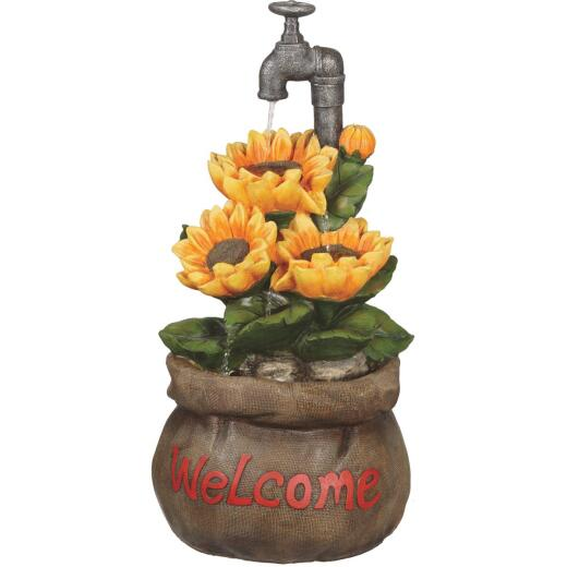 Best Garden 13 In. W. x 28 In. H. x 13 In. L. Polyresin Sunflower Fountain