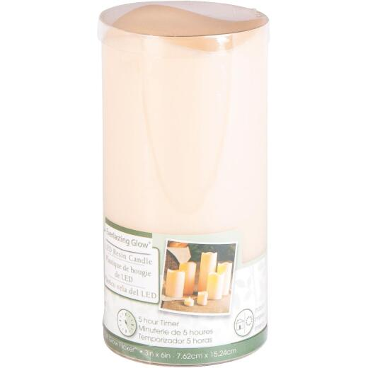 Gerson Everlasting Glow 6 In. H. x 3 In. Dia. Bisque Resin Flameless Candle