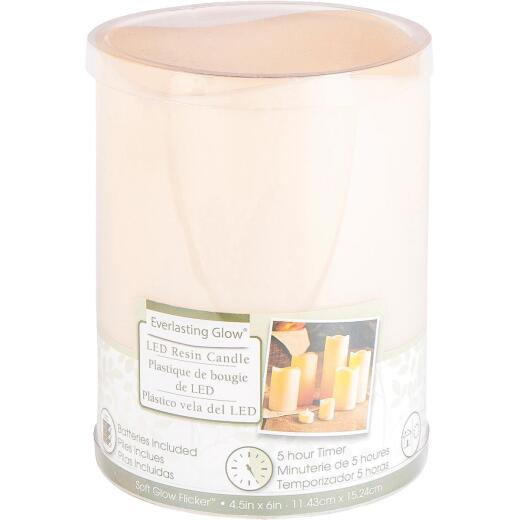 Gerson Everlasting Glow 6 In. H. x 4.5 In. Dia. Bisque Resin Flameless Candle