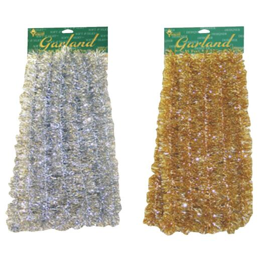 F C Young 12 Ft. Silver & Gold Silky Colored Garland