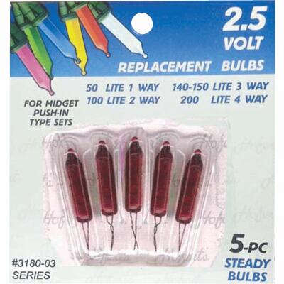 J Hofert Mini Red 2.5V Replacement Light Bulb (5-Pack)
