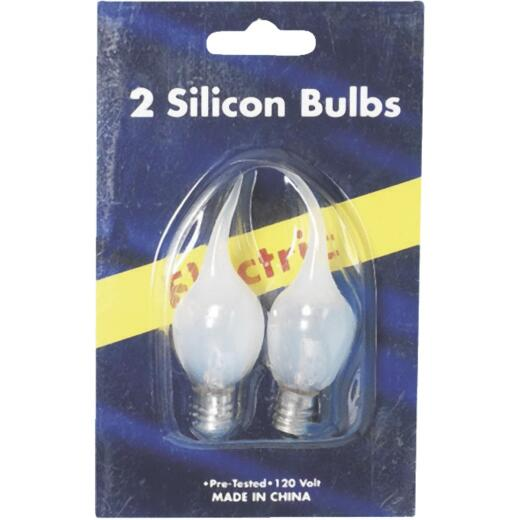 J Hofert Frosted 5W Bent Tip Silicone Candle Light Bulb (2-Pack)